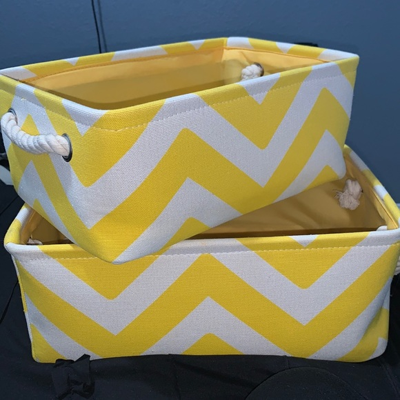 Chevron yellow and white storage baskets